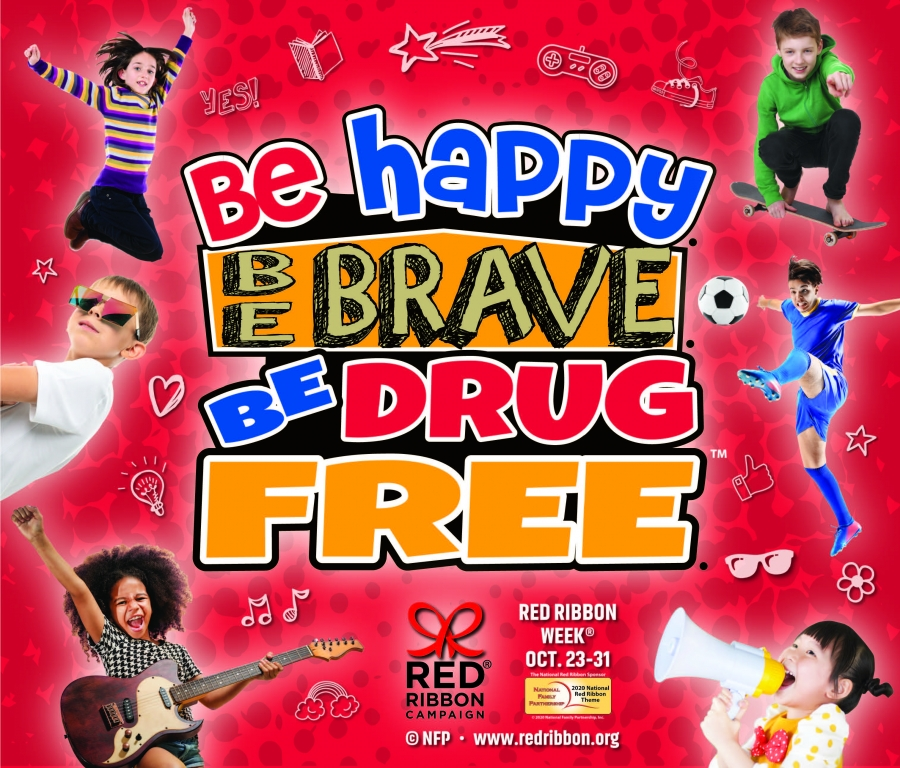Be Brave. Be Happy. Be Drug Free. Red Ribbon Week Theme Logo