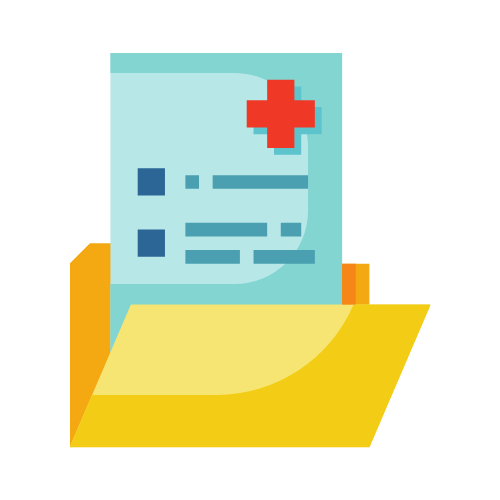 icon of generic medical report in folder